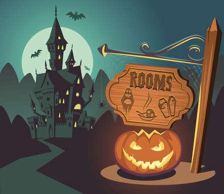 Spooky Halloween castle on moonlight Illusztráció