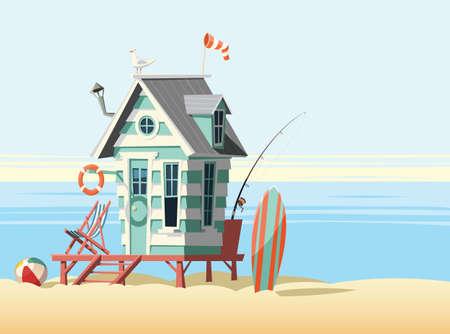 Lonely beach hut Vektoros illusztráció