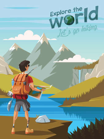 Explore the world,Let's go hiking,A young man hikers looking at a beautiful nature 矢量图像