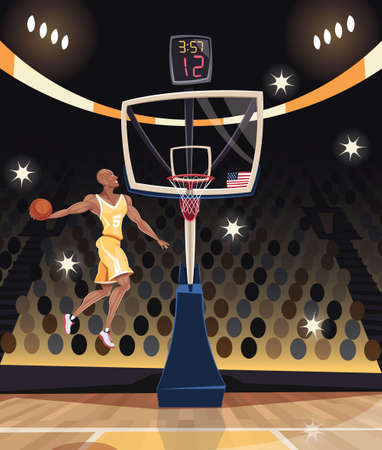 Basketball player dunking in basketball arena Vettoriali