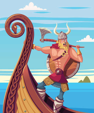 Viking warrior on the bow of a ship