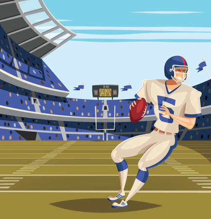 American Football player on football feild Vettoriali