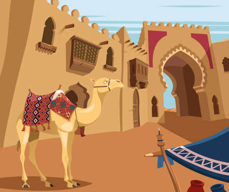 Camel in Arabic desert town 向量圖像