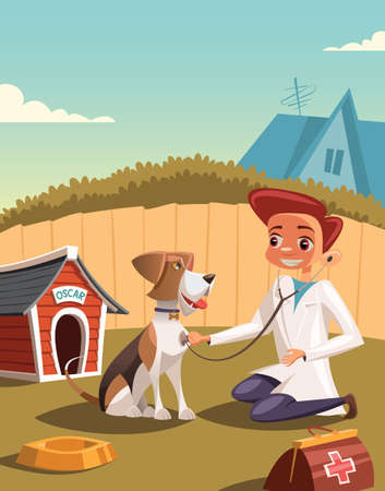 Little boy vet treats his dog