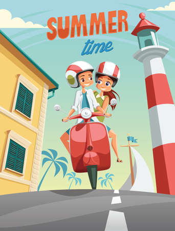 Young couple ride moped on summer vacation