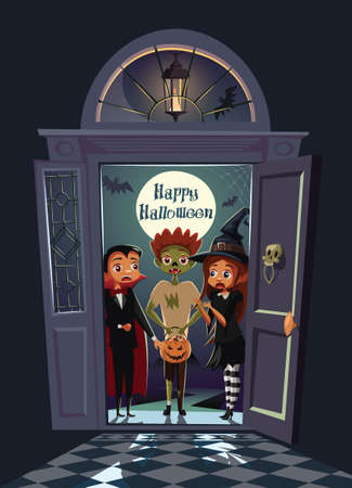 Terrified kids on the doorway scary house on Halloween night.Trick or treat