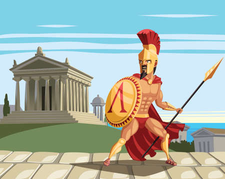 Spartan warrior and ancient Greek temple in background