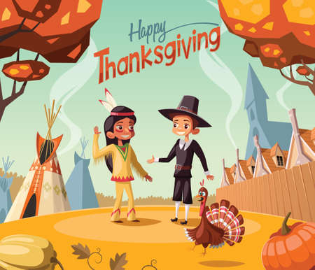 Thanksgiving day scene,Pilgtrim and Indian salute each other Vector Illustration