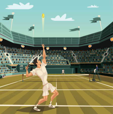 Tennis player serving on Grand Slam tournament for winning (2) Vettoriali