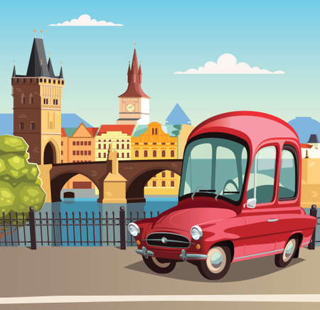 Little red car in Prague and the Charles Bridge in background 向量圖像