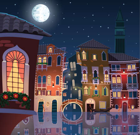 Night in the old town of Venice