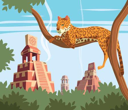 Jaguar on tree and ancient Mayan pyramids