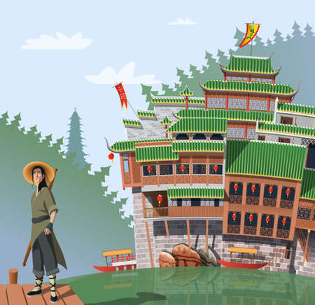 Kung Fu fighter and ancient Chinese village in background