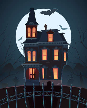 Scary house on moonlight