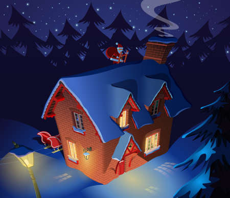 Santa Claus visit lonely forest house for Christmas eve