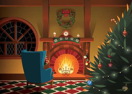 Christmas decorated interior