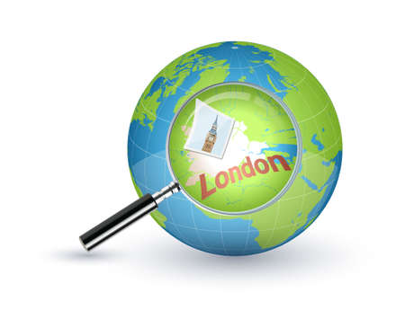 London zoomed with the magnifying glass on world globe