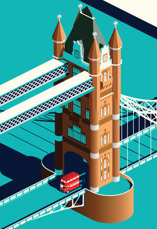 London Tower Bridge and double decker bus 向量圖像