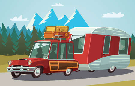 Camper trailer on mountain road 向量圖像