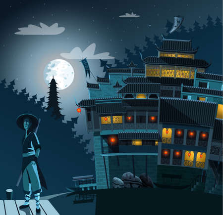 Kung fu fighter and ancient Chinese village in background at night