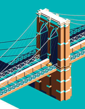 Yellow cab on Brooklyn Bridge isometric 向量圖像