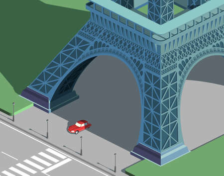 Eiffel tower and red car isometric 向量圖像