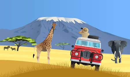 Safari truck in African savannah  イラスト・ベクター素材