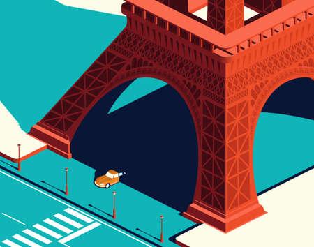 Yellow car under the Eiffel Tower 版權商用圖片 - 157320394