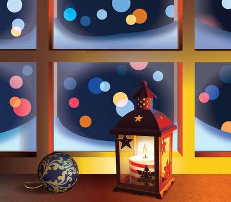 Christmas lantern and ball on window.Winter night