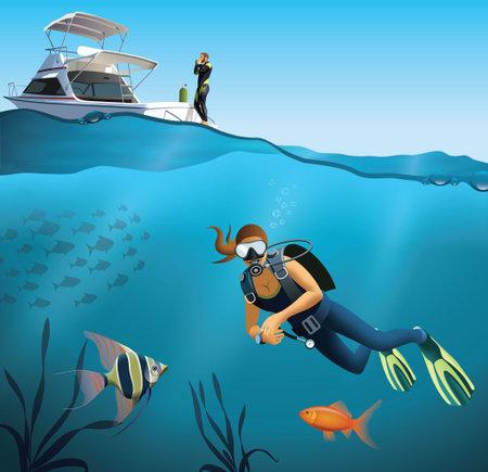 Underwater world and diving scene