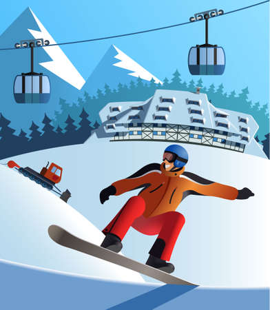 Snowboard winter resort 向量圖像