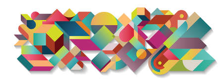 Abstract colorful tangram illustration