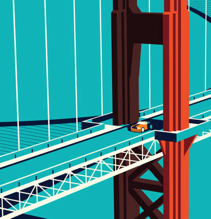 Car on the Golden State Bridge 版權商用圖片 - 157264517