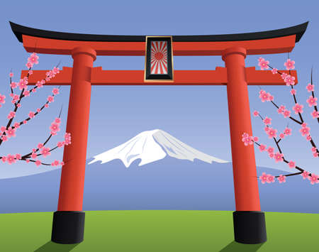 Japanese Torii gate and Fuji mountain 向量圖像