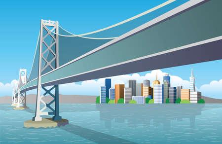 San Francisco city and bridge 版權商用圖片 - 157264195