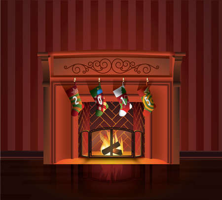 Christmas Fireplace 向量圖像