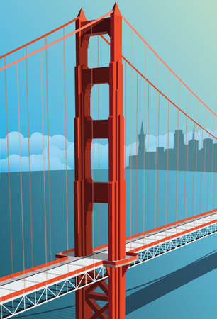 Golden Gate Bridge vector with city in background