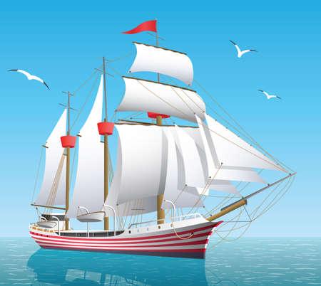 Ship on the open sea