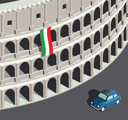 Isometric Colosseum and vintage italian car 向量圖像