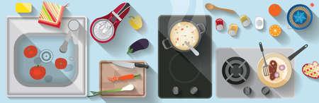 Kitchen flat illustration 版權商用圖片 - 157069877