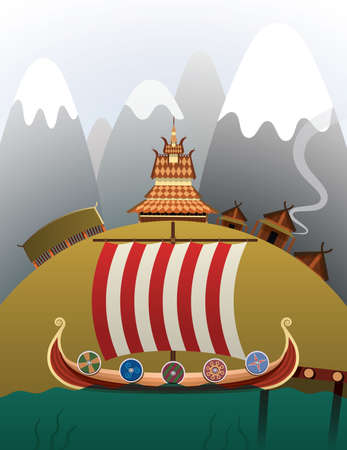 Viking ship illustration 向量圖像