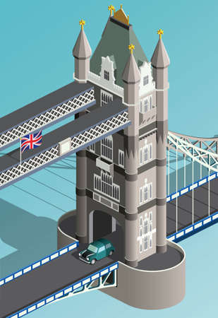 Isometric London Tower Bridge and retro car