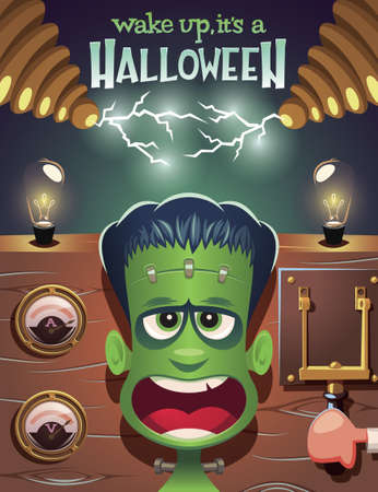 Wake up Frankenstein,it's a Halloween vector illustration