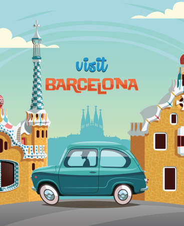 Ride through Guell park , landmark of Barcelona , in blue car