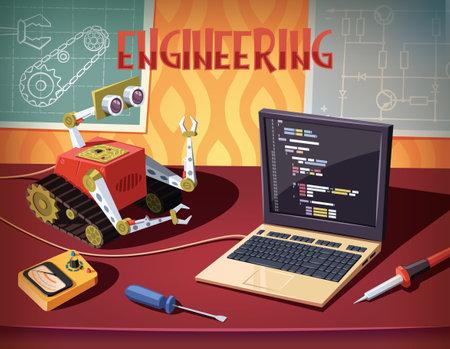 Robot programming and development .engineering and mechatronics illustration Vecteurs