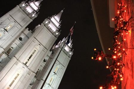 mormon temple: Temple Square Stock Photo