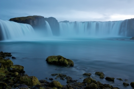Waterfall Godafoss  Goðafoss, Waterfall of Gods  in blue cast of dusk photo