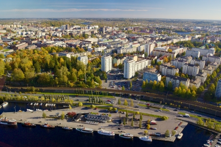 View of Tampere with marina from television tower Nasinneula Stock Photo