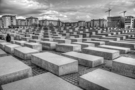 murdered: Memorial to the Murdered Jews of Europe in black and white
