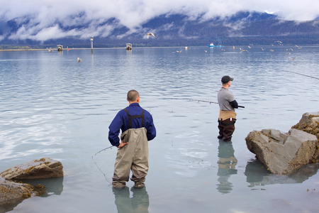 fishing catches: Seward, Alaska, United States - September 10, 2014: Two men in their 30s standing in ocean and fishing salmon in Resurrection Bay in Seward, Alaska